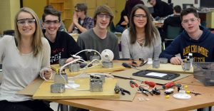 Students working with electricity