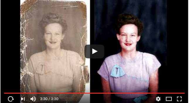 Before and after photo of colour restoration of a woman's picture.