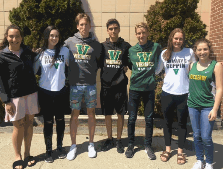 Several students wearing Vike Wear.