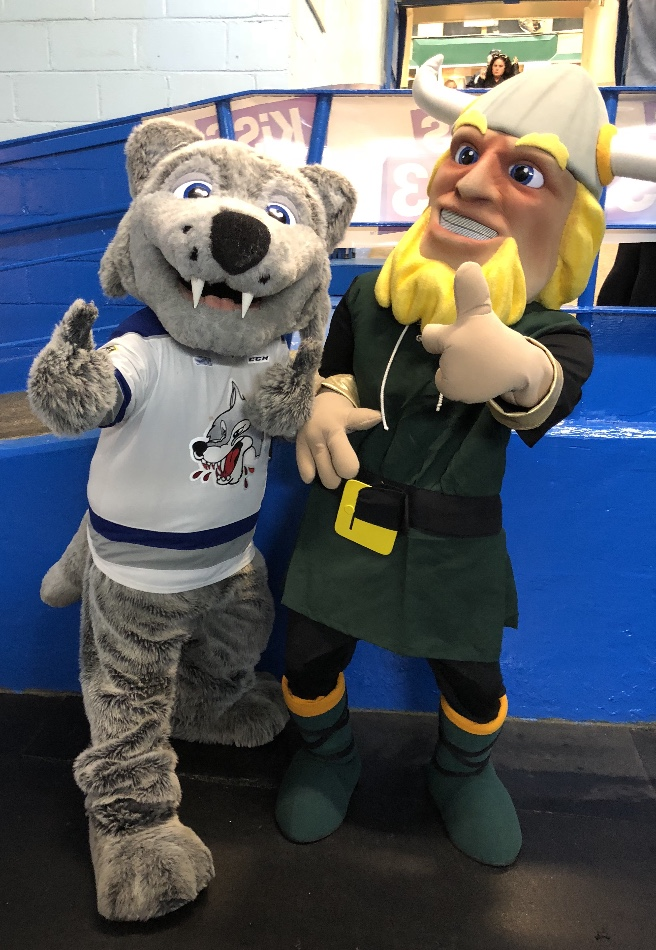 Sudbury Wolves mascot with Lockerby's mascot the viking