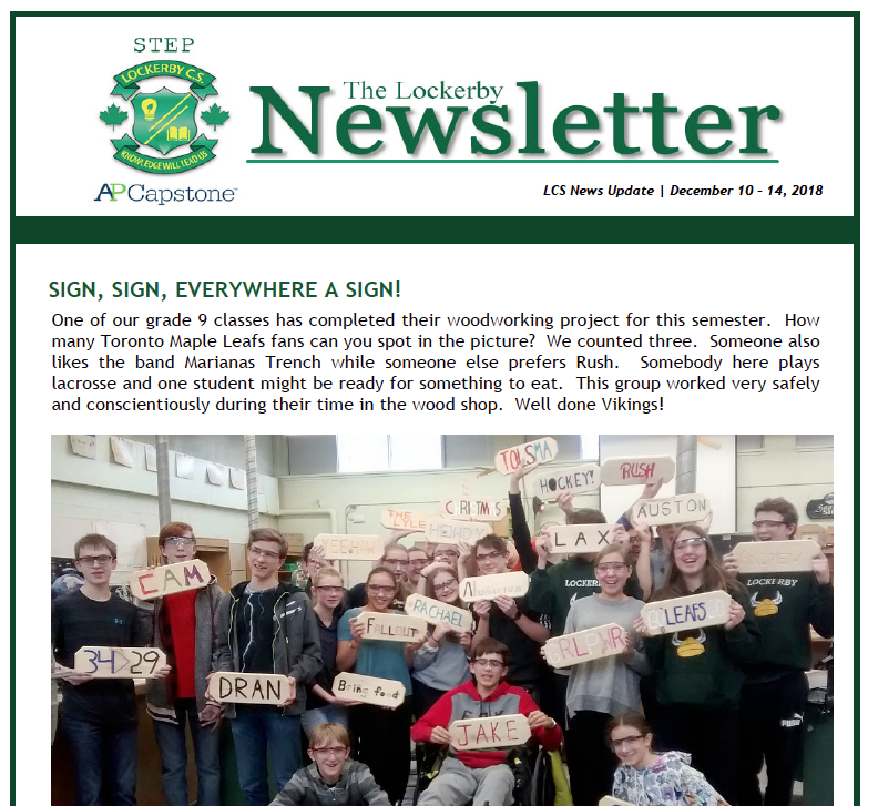 Lockerby Newsletter Front-page