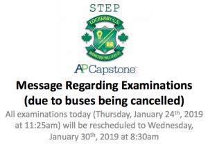 Examinations message