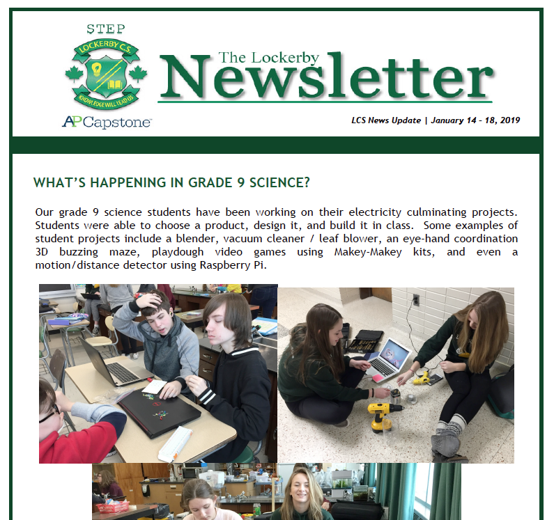 Newsletter main front page