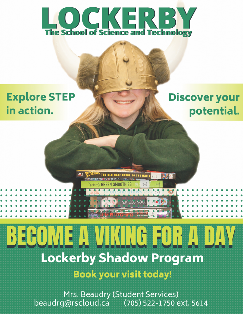 Student wearing an oversized Viking helmet