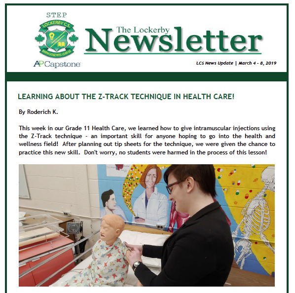 front-page of the newsletter