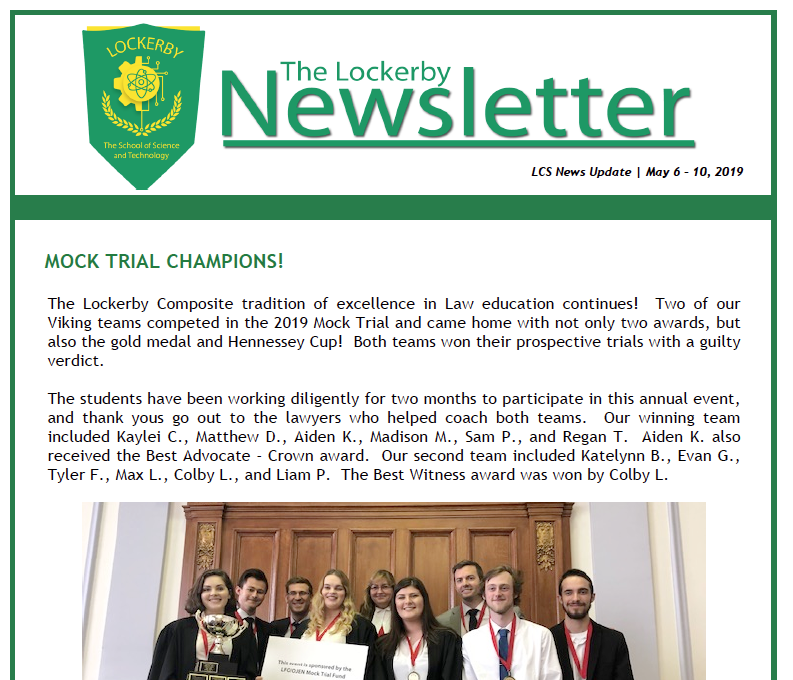 newsletter front page