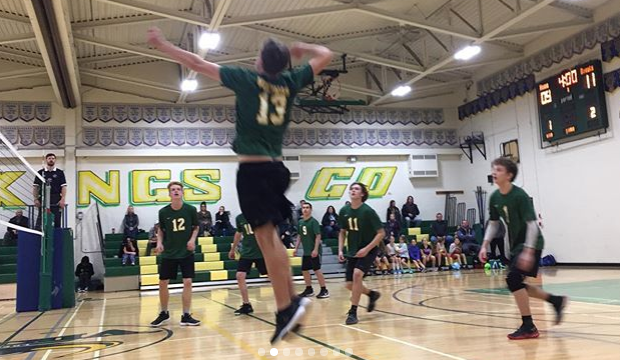 Volleyball player jumping.