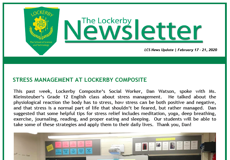 front-page of newsletter