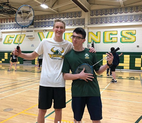 Two students in gym