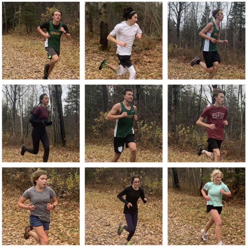 Nine single shots of students running.
