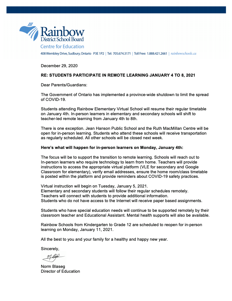 letter from Norm Blaseg re: January 2021 remote learning