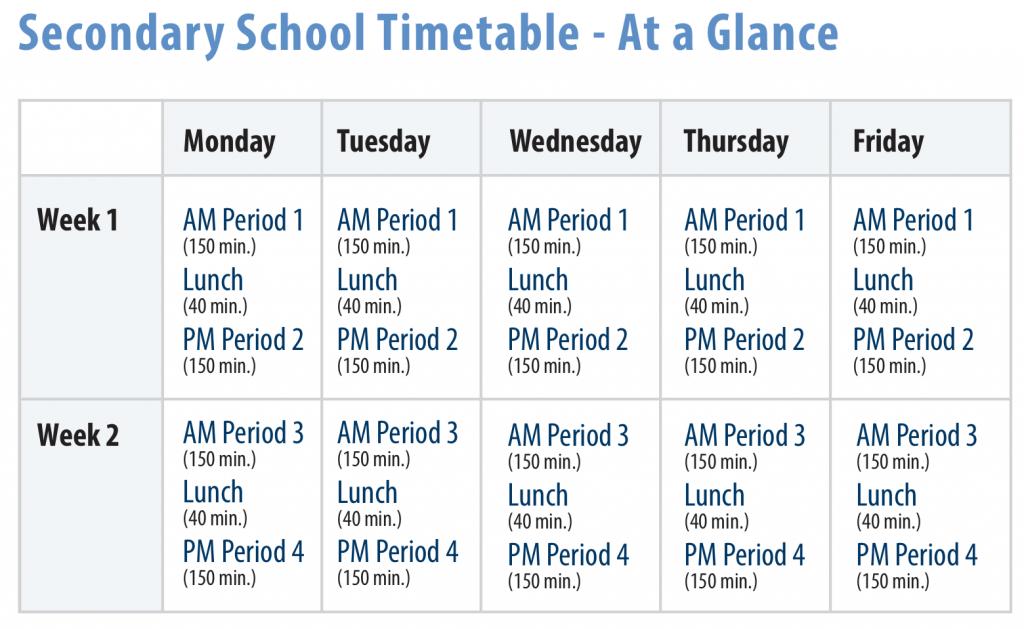 week 1 week 2 timetables